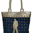 Elvis Presley Gold Lame Studded Denim/ Synthetic Leather Tote