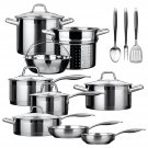 Duxtop Professional Stainless-Steel 17-piece Induction Ready Impact Bonded Technology Cookware Set