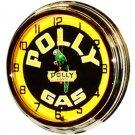 """Nostalgic Polly Gas 17"""" Yellow Neon Wall Clock"""