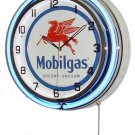 "Mobilgas 18"" Deluxe Double Blue Neon Wall Clock"
