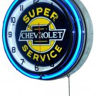 "Chevrolet Super Service 18"" Deluxe Double Blue Neon Wall Clock"
