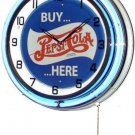 "Buy Pepsi-Cola Here 18"" Deluxe Double Blue Neon Wall Clock"