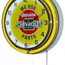 "We Use Genuine Chevrolet Parts 18"" Double Yellow Neon Wall Clock"