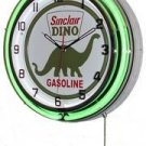 "Sinclair Dino Gasoline 18"" Deluxe Double Green Neon Wall Clock"