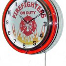 "Fire Fighters On Duty 18"" Deluxe Double Red Neon Wall Clock"