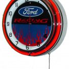 "Ford Racing 18"" Deluxe Double Red Neon Wall Clock"