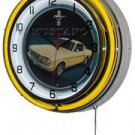 "Yellow Mustang 18"" Deluxe Double Yellow Neon Wall Clock"