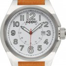Men's Zippo Brown Leather Band with White Dial Watch