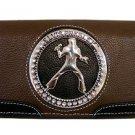 Elvis Presley Metal Branded Rhinestone Wallet- Brown