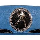 Elvis Presley Metal Branded Rhinestone Wallet- Blue