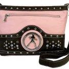 Elvis Presley Synthetic Leather Metal Branded Rhinestone Messenger Bag- Pink