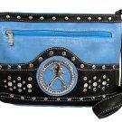 Elvis Presley Synthetic Leather Metal Branded Rhinestone Messenger Bag- Blue