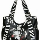 Betty Boop PVC with Rhinestones Zebra Trim Extra Large Handbag