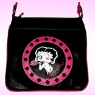 Betty Boop Synthetic Leather Messenger Bag- Black