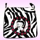 Betty Boop Synthetic Leather Messenger Bag- Zebra Print