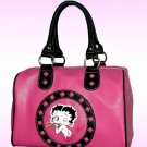 Betty Boop Synthetic Leather Satchel Bag- Hot Pink