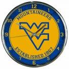 "West Virginia Mountaineers Retro Classic Trendy 12"" Round Chrome Wall Clock"
