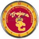 "USC Trojans Retro Classic Trendy 12"" Round Chrome Wall Clock"