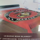 "United States Marine Corps Military 80"" x 96 King/ Queen Mink Blanket"