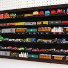 Large HO, RR, N Scale Trains Mahogany Wooden Display Case Wall Cabinet (Hot Wheels Compatible)