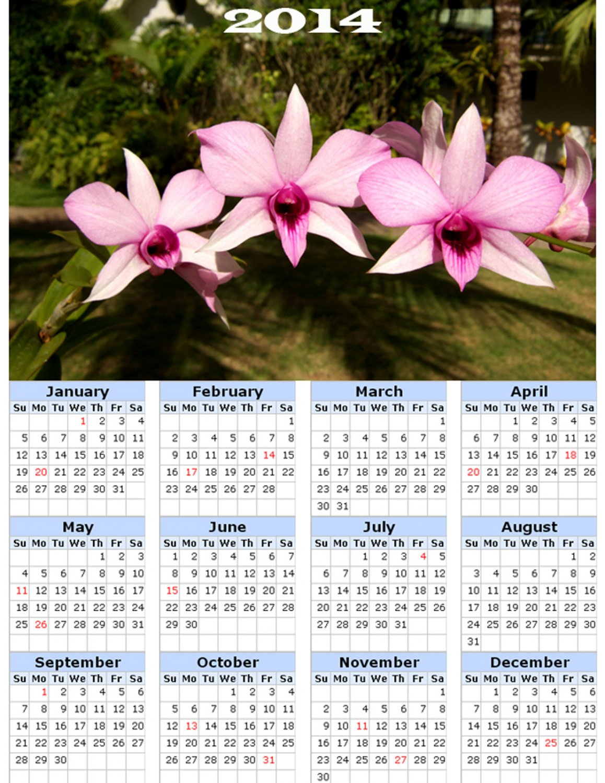 2014 calendar toolbox magnet refrigerator magnet Flowers #1