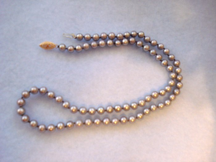 Gray Pearls Necklace 18inches, 6mm - 14 kt Gold Clasp