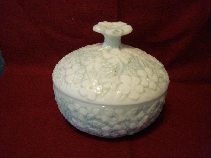 Early Fostoria Blue Cased Milk Glass Floral Puff Box