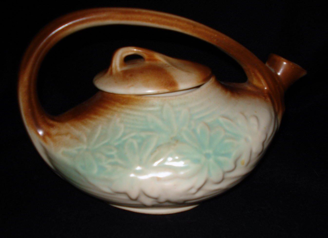 McCoy Pottery Daisy Matte Rustic Color Teapot #102