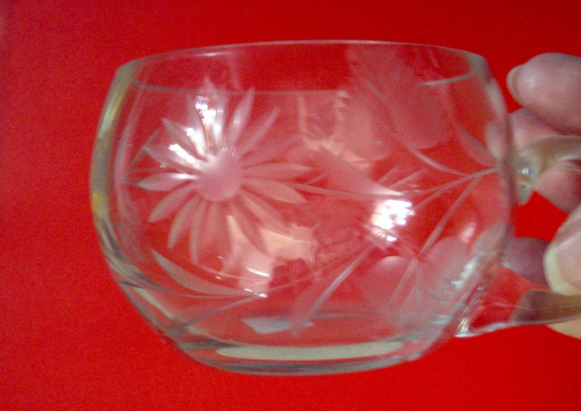 Two Engraved Floral and Leaf Punch Cups, Curved Handles
