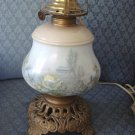 Kerosene Lamp Painted Barn & Flower Scenes Milk Glass