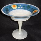 U S Glass White & Blue Cased Comport with Flowers 1920s