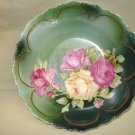 "Three Crown Porcelain 9"" Bowl Roses, Germany, Bavarian"