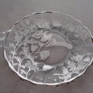 New Martinsville Silver Overlay Handle Anniversary Tray