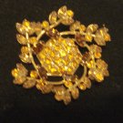 Amber Prong-Set Rhinestone Two-Tone Vintage Pin, 2-1/2 inch Diameter
