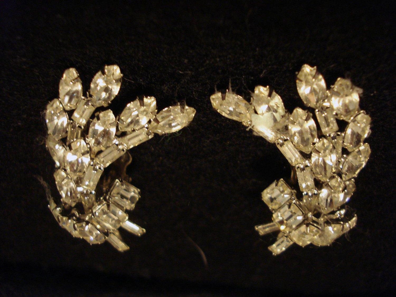 Beautiful Bouquet Style Prong-Set Rhinestone Clip On Vintage Earrings