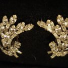 Beautiful Bouquet Style Prong-Set Rhinestone Clip On Vintage Earrings