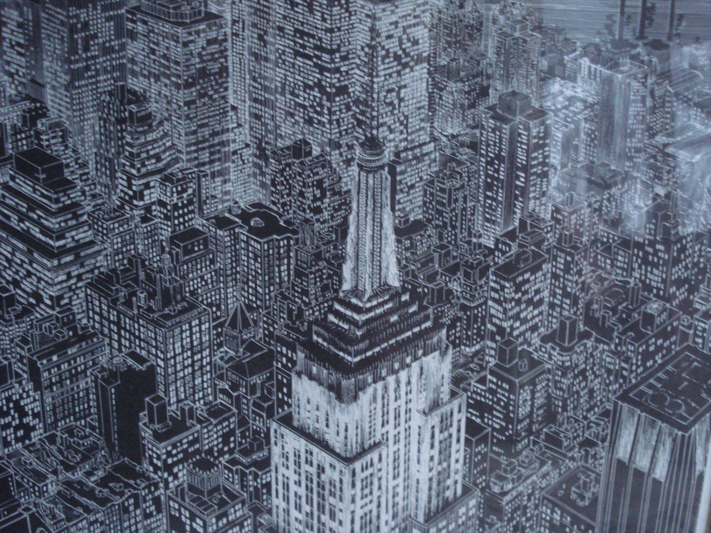 "City Scape ""New York, New York"" Framed, Signed, Numbered Print, S. Finkenberg"