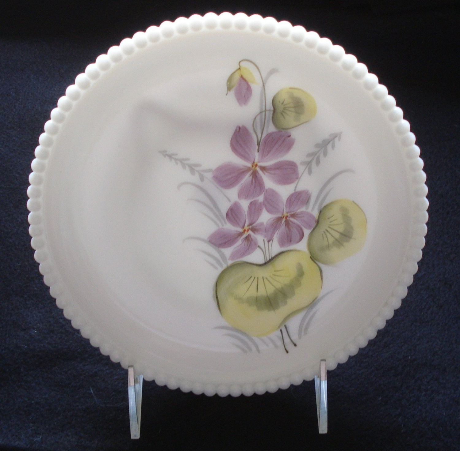 Westmoreland Hand Painted Violets decorated Beaded Edge 8.5 Inch Plate