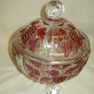 Westmoreland Ruby Stain Lustre Panel Grape Covered Footed Candy Dish