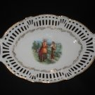 "Reticulated 9.5"" Oval Bowl with Farmers Transfer, Germany"