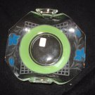 "1920s Heisey Cased Green & Blue 6"" dish, Wheel Cut Plate, 2 Handles"