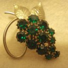 Green Prong-Set Rhinestone Grape Cluster Shape 1-3/4 inch Vintage Pin