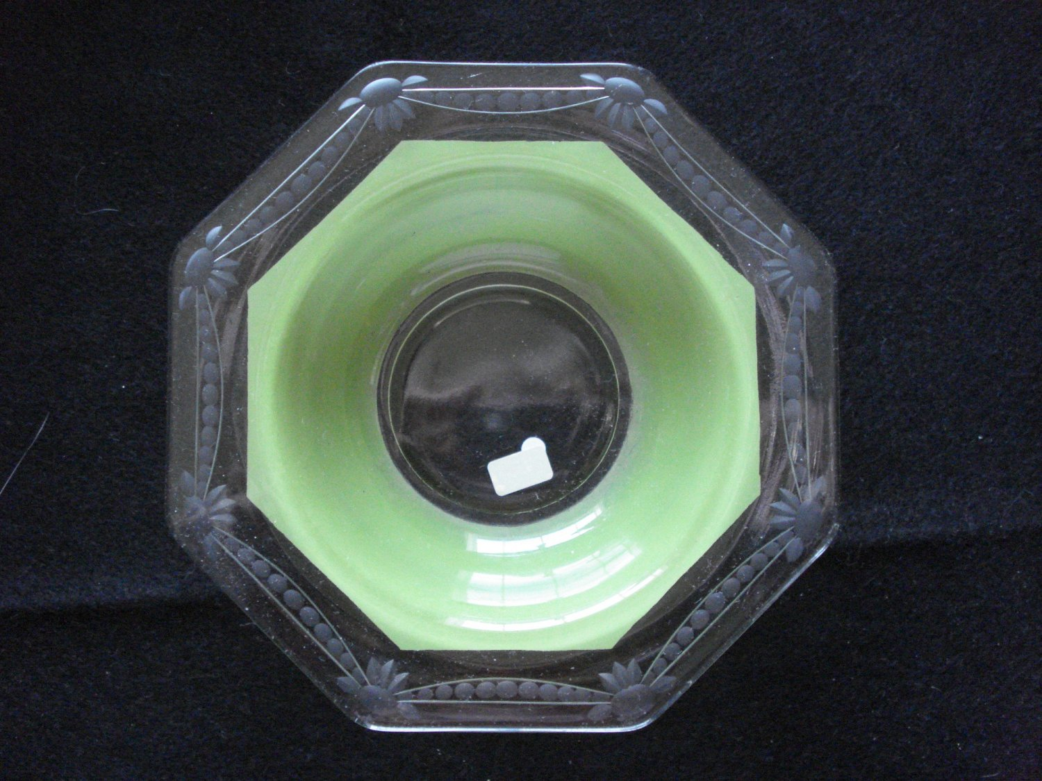 Green Cased Wheel Cut Six Sided small Bowl, Westmoreland, 1920s