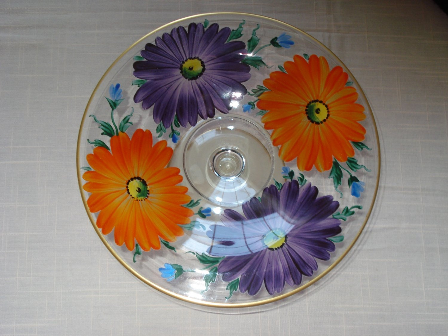 """1930s Westmoreland Hand Painted Bright Floral 8"""" Comport, Ball Footed Cased"""