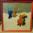 Reverse Painting Children Sledding and Skating, Vintage, 12.5 Inch Square