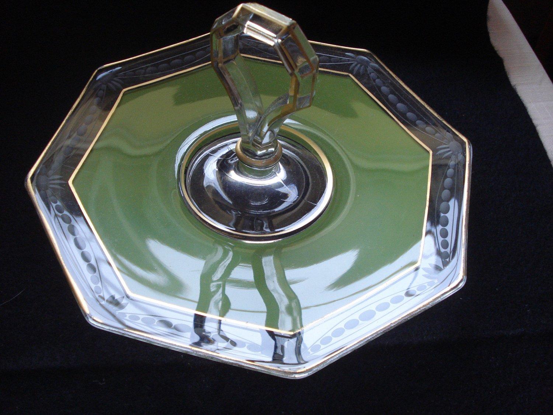 Green Cased Wheel Cut Eight Sided Handled Sandwich Plate, Duncan & Miller, 1920s
