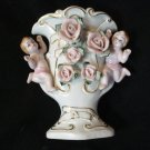 Cherub Vase with Applied Roses, Porcelain with Original Klein Dept. Store Label