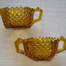Scarce - Westmoreland Glass Amber English Hobnail Creamer & Sugar
