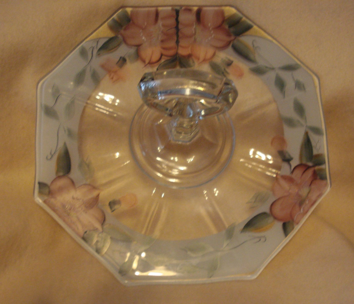 Elegant White Cased Hand Painted Floral Center Handled Sandwich Plate