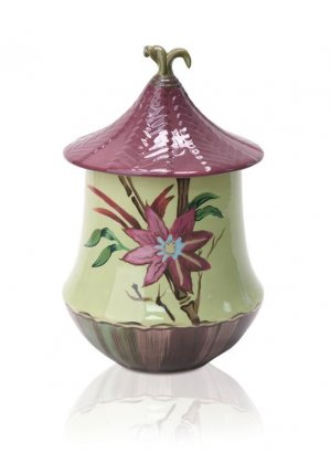 Hand Painted Asian Canister